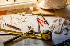 Blueprints, Hardhat, Glasses, Stickers, Construction level, Pen Stock Photos