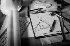Blueprints, Hardhat, Glasses, Stickers, Construction level, Pen Stock Images