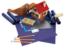 Blueprints and home Stock Photo