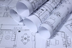 Blueprints for home,office Stock Images