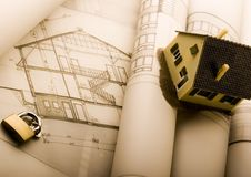 Blueprints & House Royalty Free Stock Images