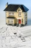 Blueprints and house Royalty Free Stock Photos