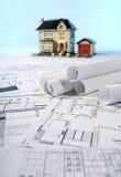 Blueprints and house Stock Photos