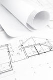 Blueprints for house construction Stock Images