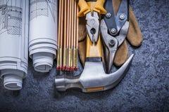 Blueprints il hamme di legno dell'artiglio del guanto della sicurezza delle pinze dei colpi di forbici della latta del tester Immagine Stock Libera da Diritti