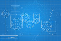 Blueprints Illustration. Blue and white blueprints illustration Royalty Free Stock Photos