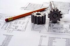 Blueprints Including Sprocked Stacks And Pencil Royalty Free Stock Photos