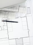 Blueprints and laptop Stock Photos
