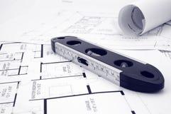 Blueprints and level Stock Image