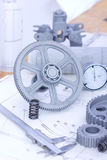 Blueprints and machine parts Stock Photo