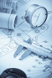 Blueprints with measuring instruments Royalty Free Stock Photo