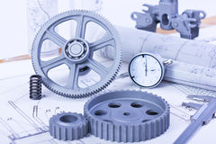 Blueprints with measuring instruments Stock Photos
