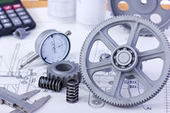 Blueprints with measuring instruments Stock Image