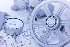 Blueprints with measuring instruments Stock Photography