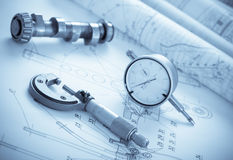 Blueprints with measuring instruments. Close up Stock Images