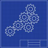 Blueprints. Mechanical engineering drawings of royalty free stock images