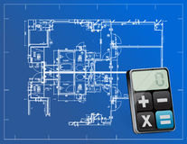 Blueprints and modern calculator Royalty Free Stock Images
