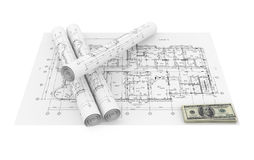 Blueprints and money Royalty Free Stock Images