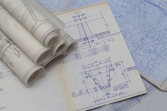 Blueprints. Old Blueprints of apartments, houses buildings Stock Photography