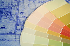 Blueprints and Paint Swatches. Paint swatches layed out on blueprints Royalty Free Stock Image