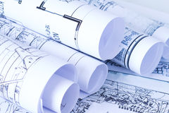 Blueprints. Partially visible blueprints, architectural plans Royalty Free Stock Photography