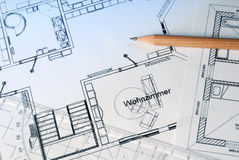 Blueprints and pen Stock Photo