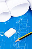 Blueprints and pencil Stock Image