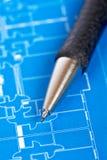 Blueprints and pencil Royalty Free Stock Photos