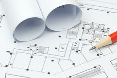 Blueprints. The photo of blueprints and pencil Royalty Free Stock Photos