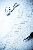 Blueprints, planing notepad, pen and keys Stock Photos