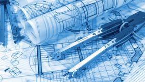 Blueprints - rolls of architectural drawings. Architectural Blueprints - loupe - magnifying glass and rolls of architectural drawings smoothly rotate on the stock video