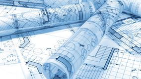 Blueprints - rolls of architectural drawings. Architectural Blueprints - loupe - magnifying glass and rolls of architectural drawings smoothly rotate on the stock video footage