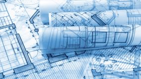 Blueprints - rolls of architectural drawings. Smoothly rotate on the surface of the architectural plan of a modern house / seamless looping stock footage