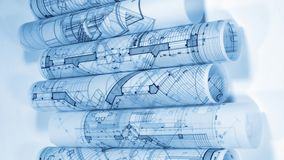 Blueprints - rolls of architectural drawings. Architectural Blueprints - rolls of architectural drawings smoothly rotate on the white background / seamless stock video footage