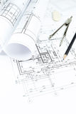 Blueprints, rolls and drawing tools Royalty Free Stock Photos