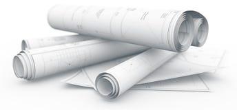 Blueprints on white background Royalty Free Stock Images