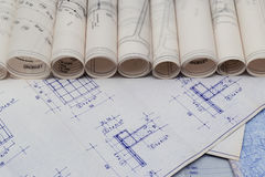 Blueprints Rolls Royalty Free Stock Images