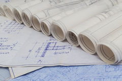 Blueprints Rolls Royalty Free Stock Photography