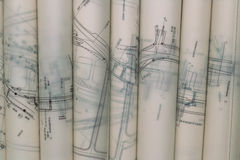 Blueprints Rolls Stock Photography