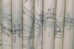 Blueprints Rolls Stock Photography