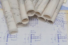 Blueprints Rolls Royalty Free Stock Photos