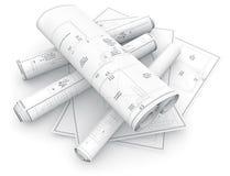 Blueprints rolls on white background Royalty Free Stock Photos
