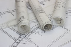 Blueprints. Shoot of Old Blueprints and rolls Royalty Free Stock Photography