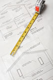 Blueprints with tape measure Royalty Free Stock Photos