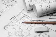 Blueprints and tools. Pencil and eraser with blueprint - focus on title Royalty Free Stock Photos