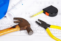 Blueprints and tools Stock Photography