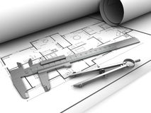 Blueprints and tools Stock Photo