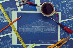Blueprints and tools Royalty Free Stock Image
