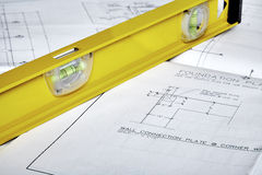 Blueprints with a Yellow Level Stock Photography