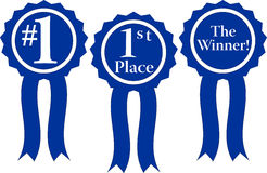 Blueribbon. Three blue ribbon awards, #1, 1st Place and the winner Royalty Free Stock Photography